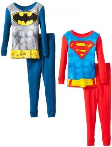 Komar Kids Boys 2-7 Superman Batman 4 Piece Pajama Set