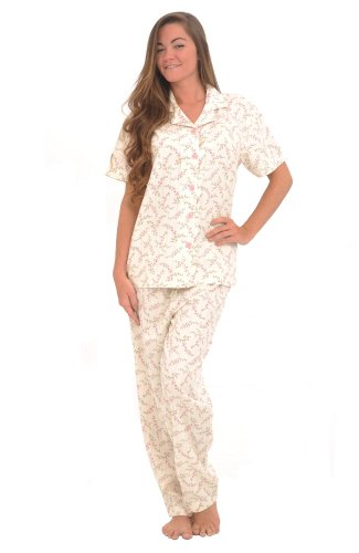 Cotton Short Sleeve Pajama Set with Pj Pants