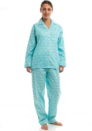 Noble Mount Womens Premium 100% Cotton Flannel Pajama Sleepwear Set