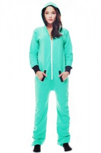 Cozy Fleece Pajamas Onesie For Women All In One Hooded Aqua