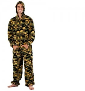 Mens All in One Piece Hoodie Onesie Camo Camouflage Jumpsuit Pajama