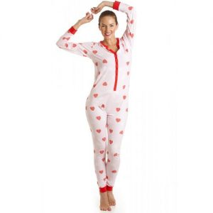 All In One Jersey Heart Onesie Pajamas