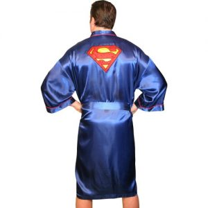 Classic Men's Superman S Logo Blue Satin Robe One Size