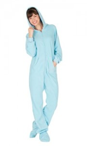 Footed Pajamas Baby Blue Adult Hoodie One Piece