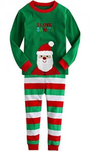 Cinqueint Baby Boys Girls Christmas Santa Pajamas Shirt & Pants Sets 2 Pcs