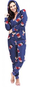 Ladies Christmas Design Hooded All In One Onesie