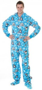 Footed Pajamas Winter Wonderland Adult Hoodie One Piece