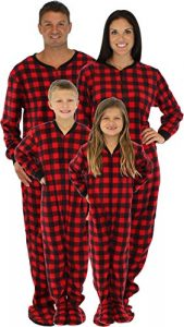 SleepytimePjs Family Matching Red Plaid Fleece Footed Pajamas