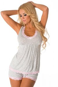 Velvet Kitten Sexy and Sweet Short PJ Set 543188 Small Grey/White
